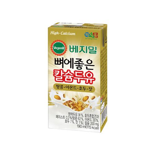 베지밀 뼈에좋은 칼슘 두유 땅콩아몬드호두잣 190mlx96팩