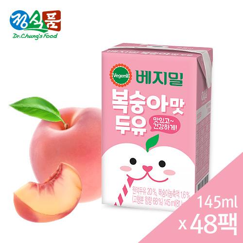 베지밀 복숭아맛 두유 145mlx48팩